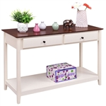 白木抽屉控制台沙发桌,胡桃木饰面