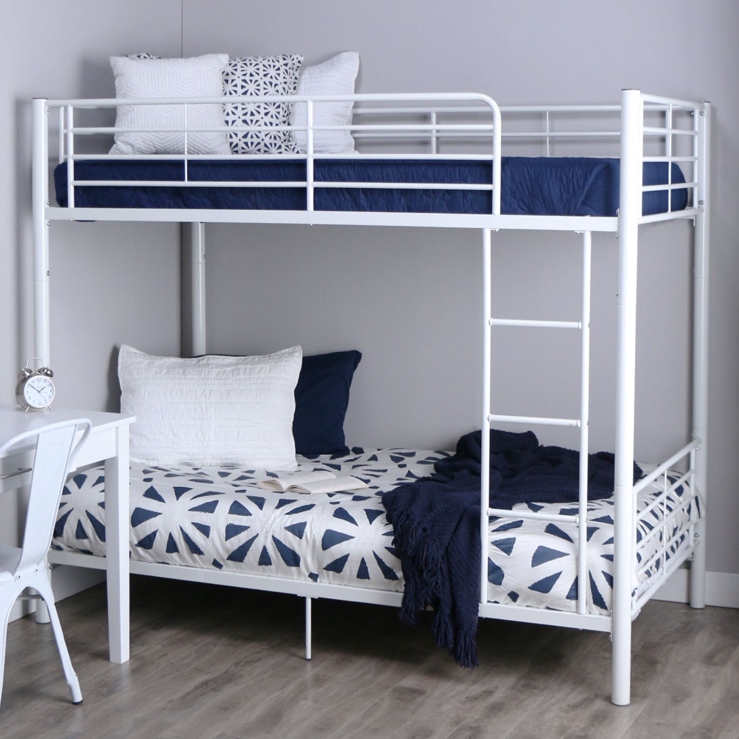 Picture of: Twin Over Twin Sturdy Steel Metal Bunk Bed In White Finish Fastfurnishings Com