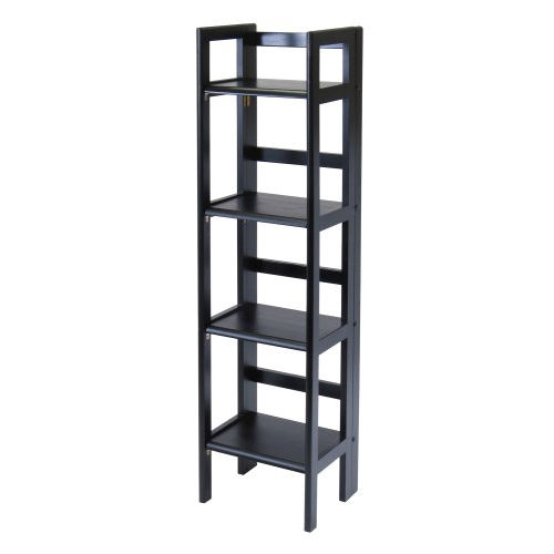 Black 4 Tier Shelf Folding Shelving Unit Bookcase Storage Shelves Tower