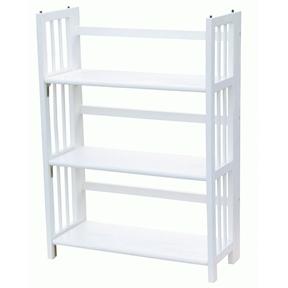 White Wood Folding Bookcase Storage Unit Shelving with 3 Shelves