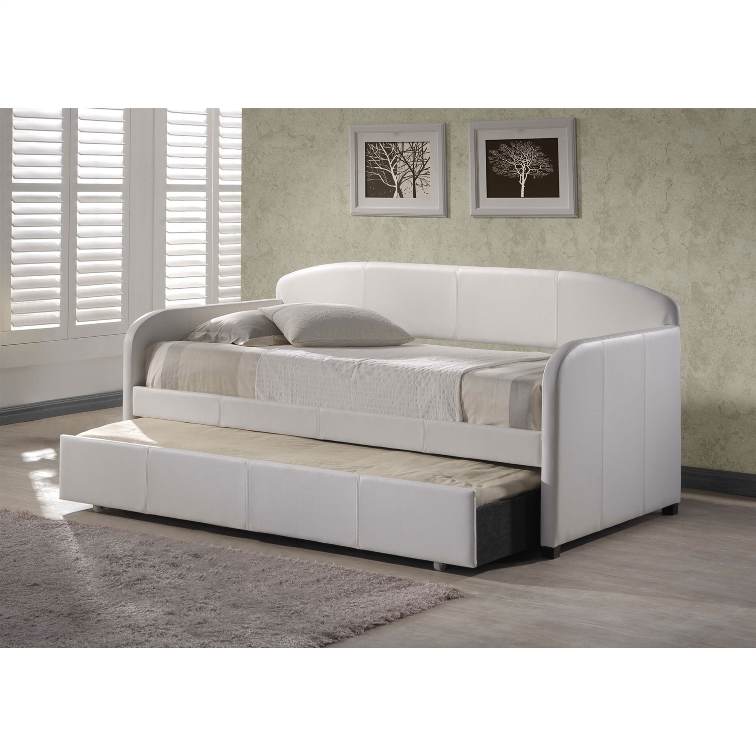 Twin Modern White Faux Leather Daybed With Roll Out Trundle