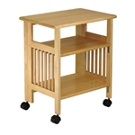 3-Shelf Folding Wood Printer Stand Cart in Natural with Lockable Casters
