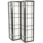 Black 4-Panel Room Divider Shoji Screen with Asian Floral Print