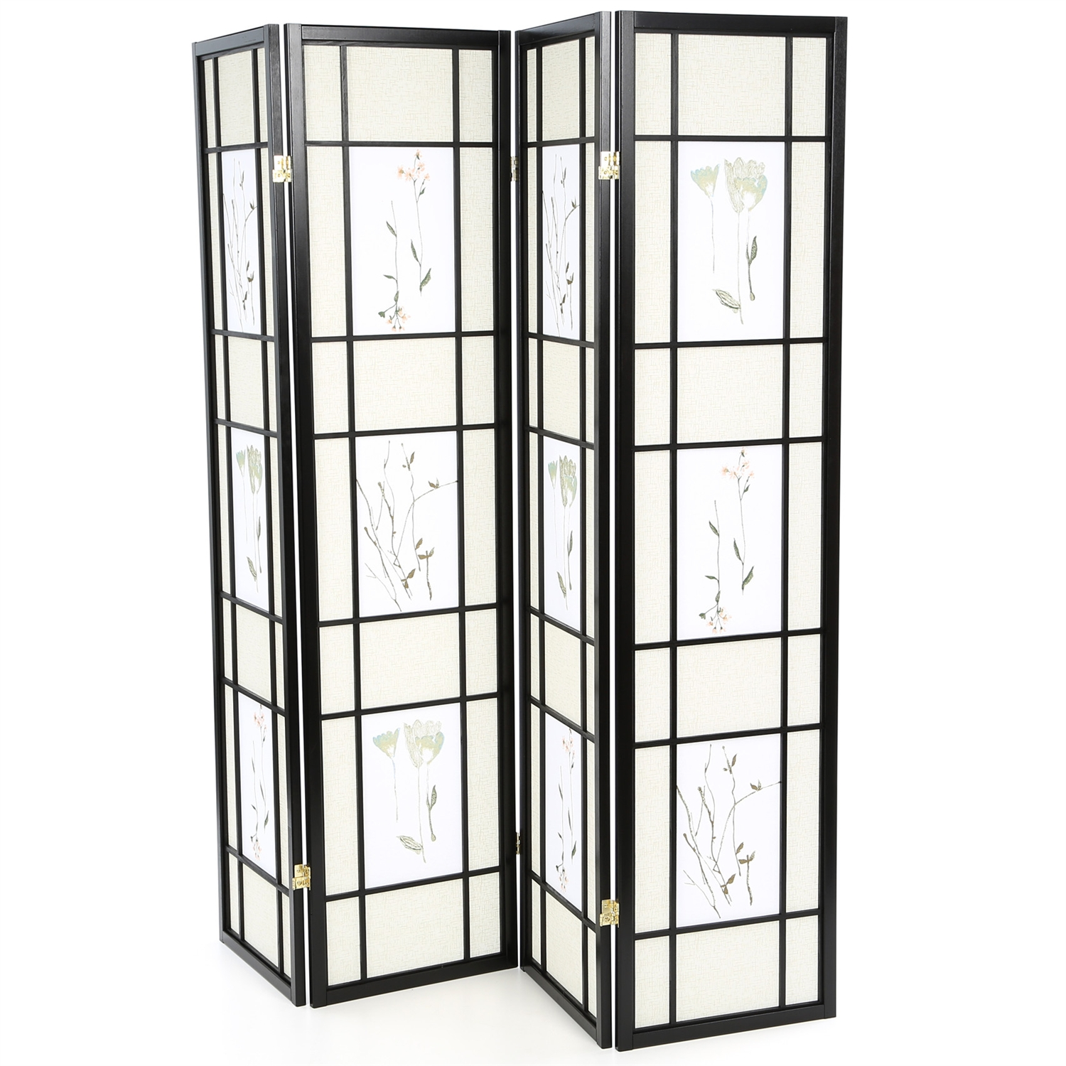 Incredible Black 4 Panel Room Divider Shoji Screen With Asian Floral Print Home Interior And Landscaping Analalmasignezvosmurscom
