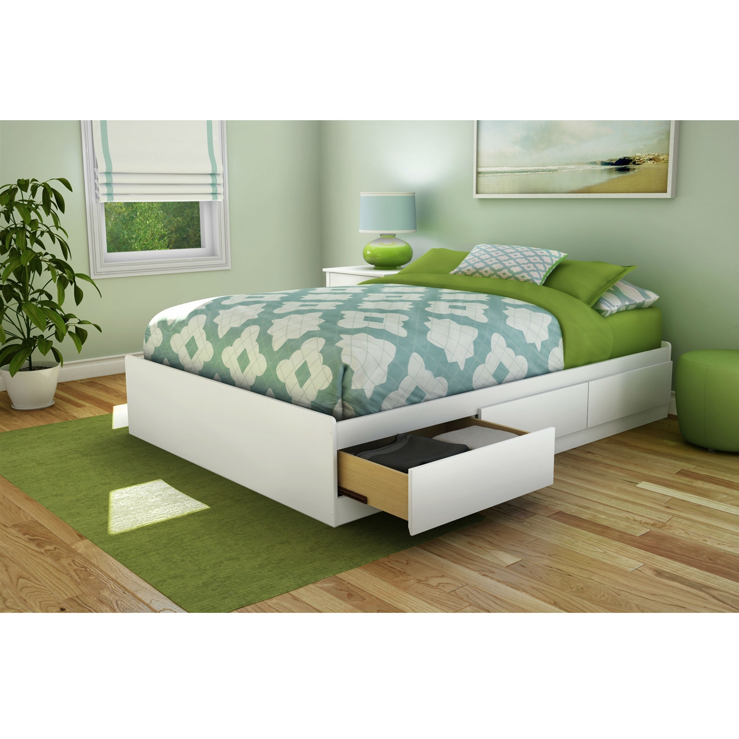 Picture of: Full Size Contemporary Platform Bed With 3 Storage Drawers In White Fastfurnishings Com