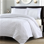 Full / Queen size White Quilted Coverlet Set with 2 Shams with Classic Stitch Pattern
