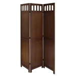 3-Panel Wooden Folding Room Divider Screen in Walnut Finish