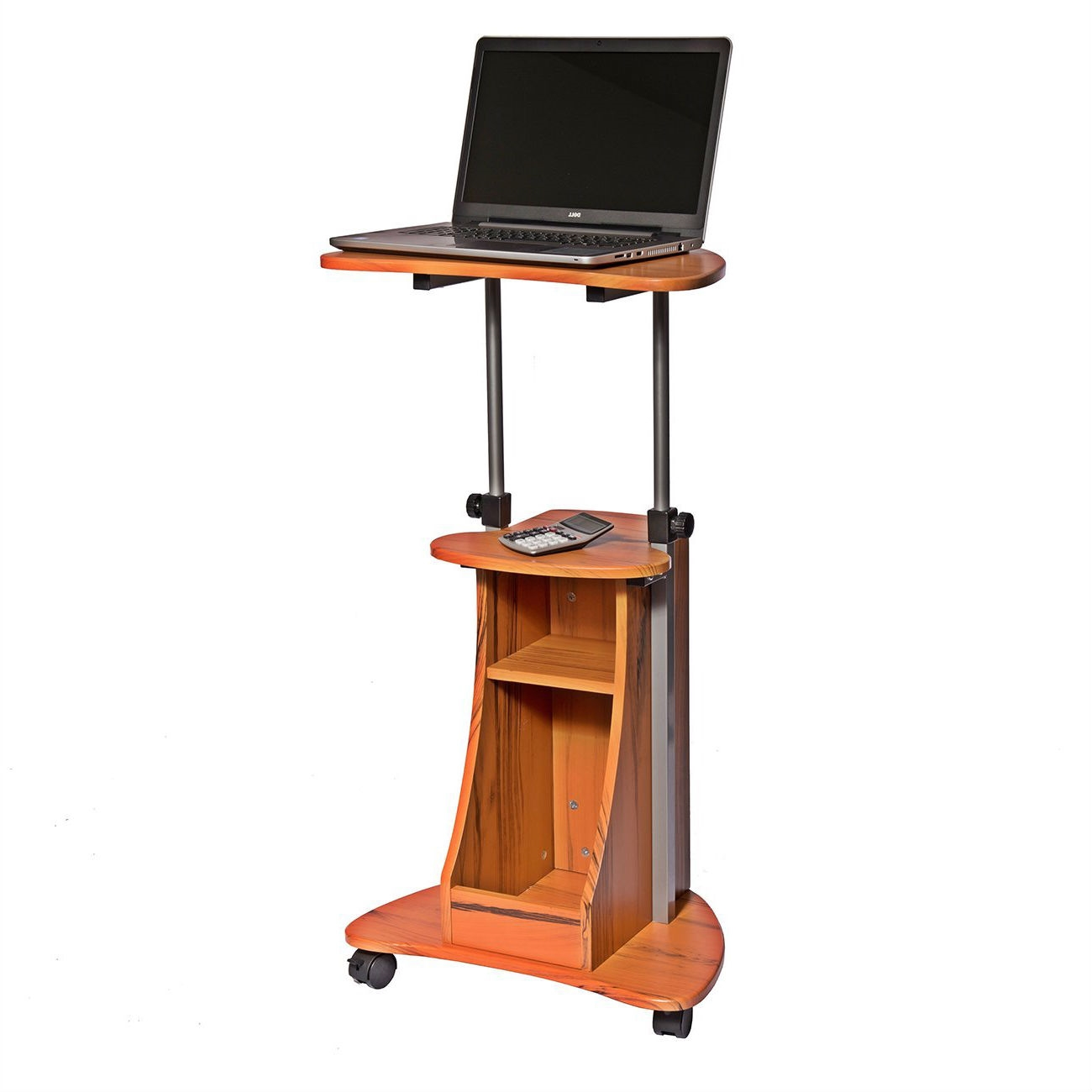 Mobile Sit Down Stand Up Desk Adjustable Height Laptop Cart in