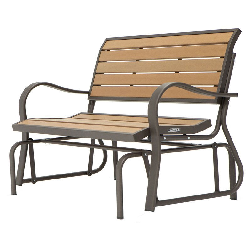 4 Ft Weather Resistant Outdoor Loveseat Glider Bench In Wood Grain