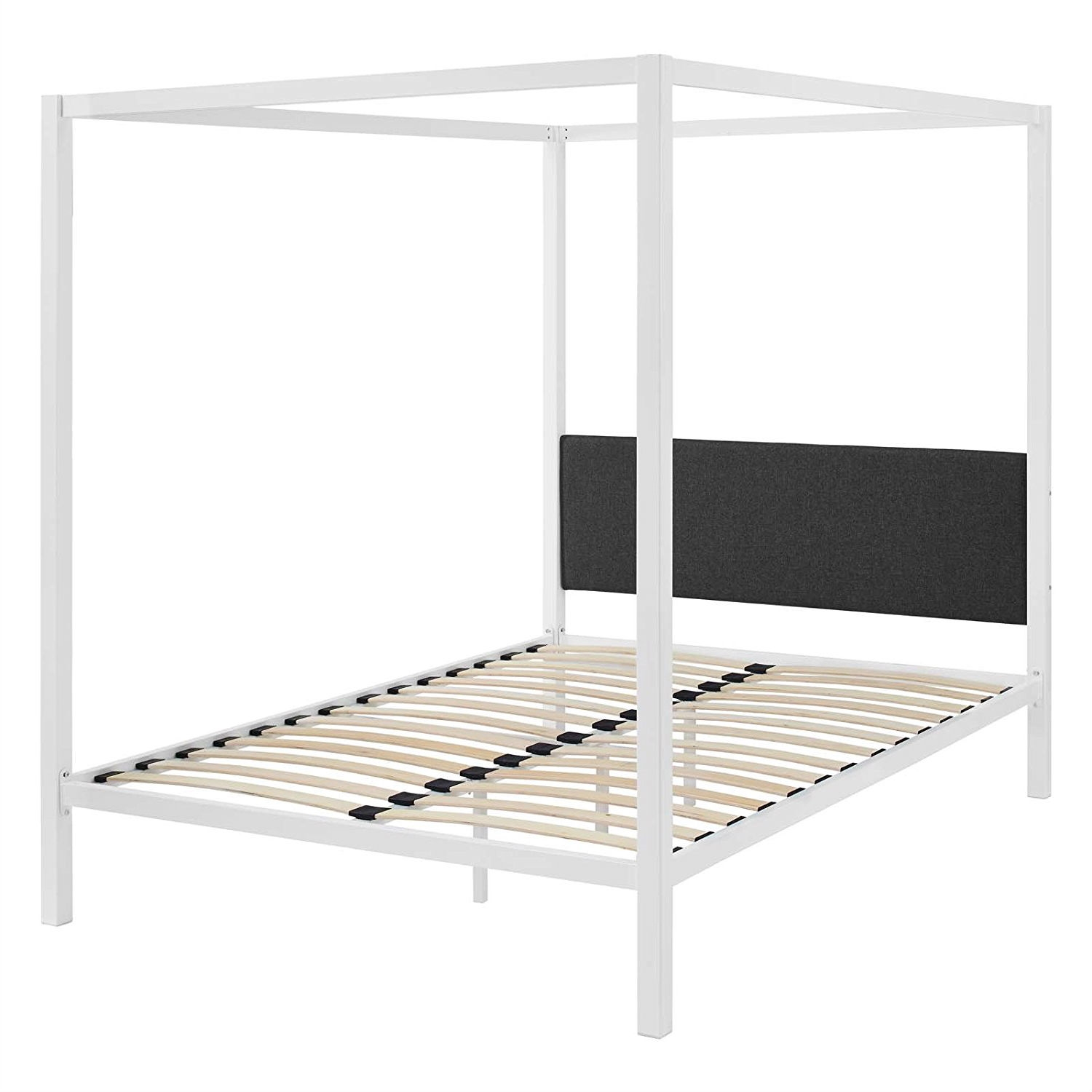 Queen Size White Metal Canopy Bed Frame With Grey Fabric Upholstered Headboard Fastfurnishings Com