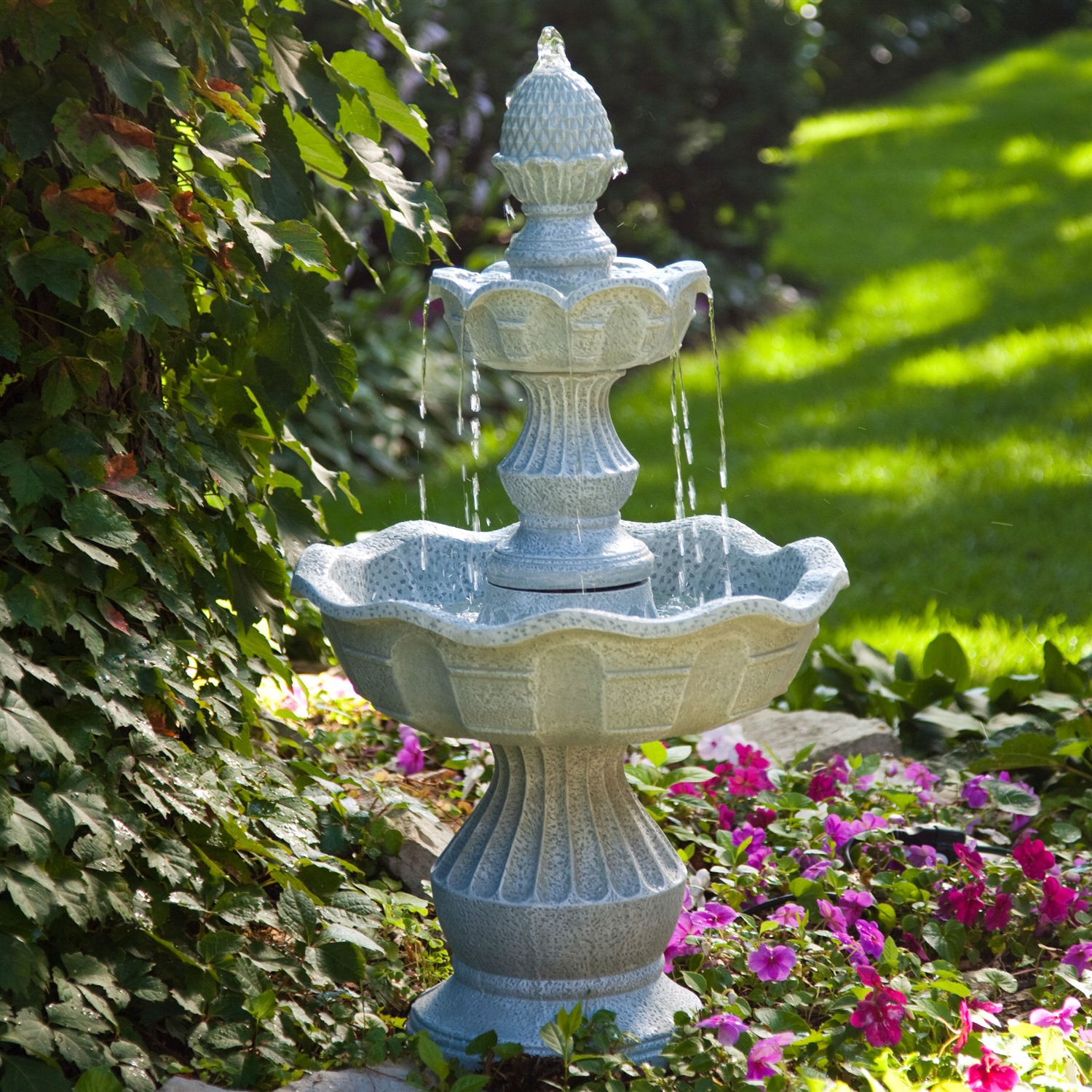 Superbe 2 Tier Outdoor Fountain With Pineapple Top In Weather Resistant Resin