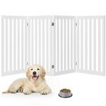 折叠式面板狗门宠物围栏,白色木饰面