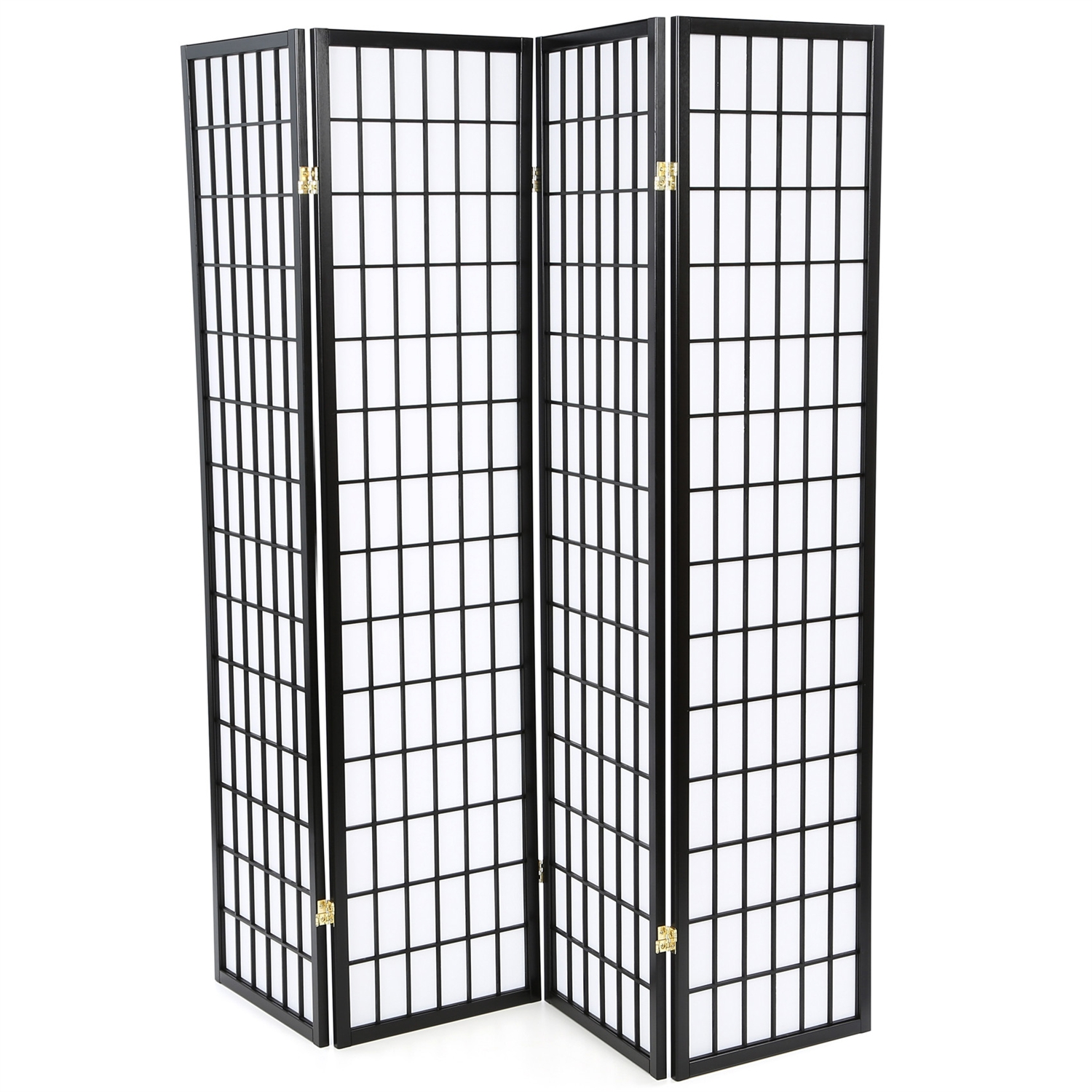 Outstanding Black 4 Panel Asian Style Shoji Room Divider Screen Home Interior And Landscaping Analalmasignezvosmurscom