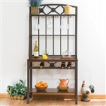 Bakers Rack with Stemware Hangers and Wine Rack