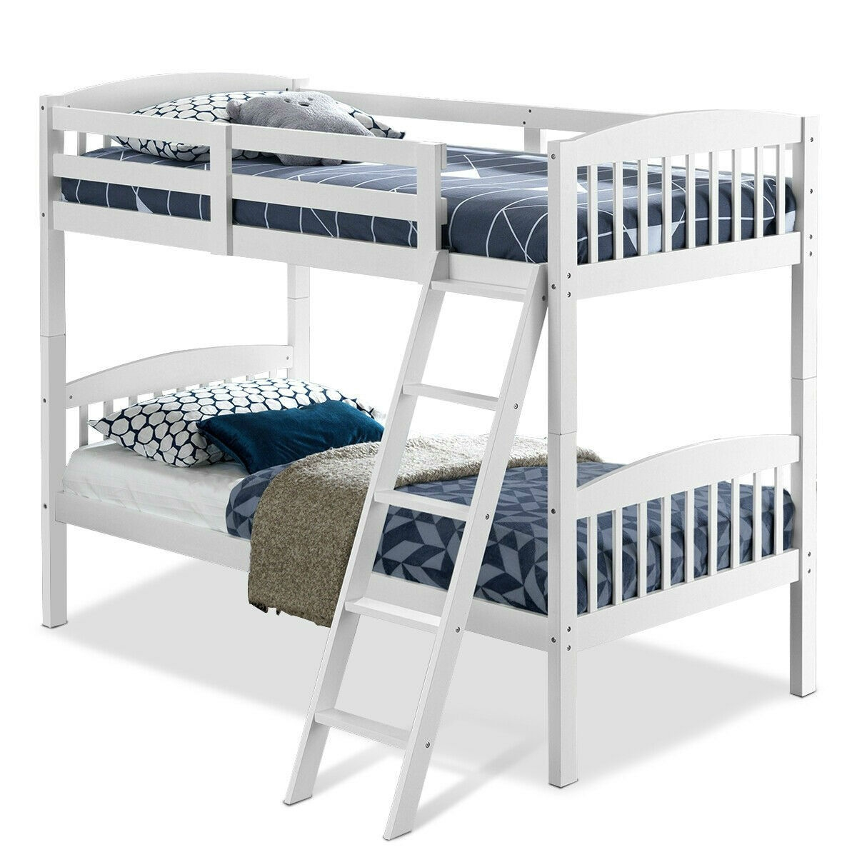 Picture of: Twin Over Twin Wooden Bunk Bed With Ladder In White Wood Finish Fastfurnishings Com