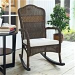 室内户外露台门廊摩卡柳条摇椅,米色坐垫