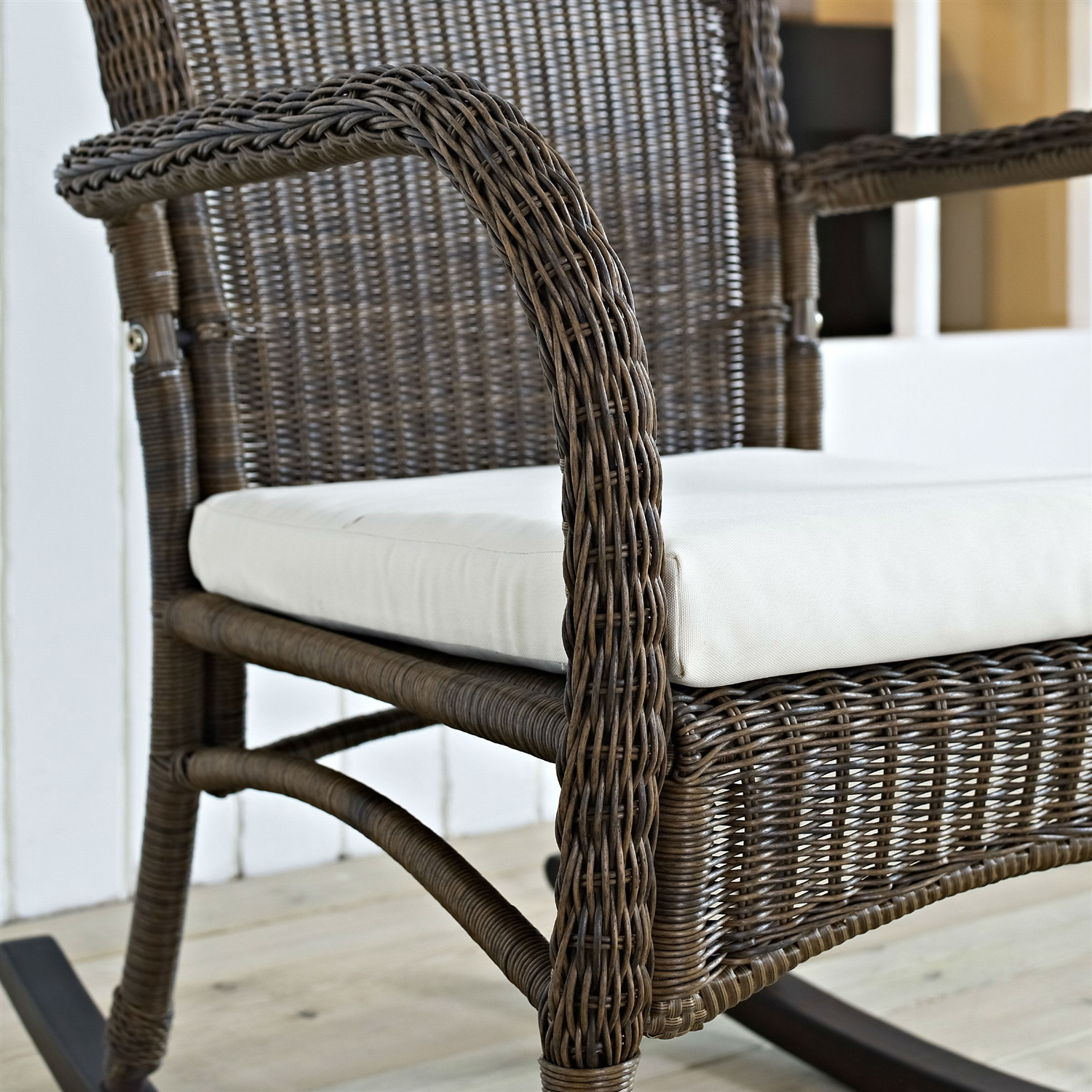 Indoor Outdoor Patio Porch Mocha Wicker Rocking Chair With