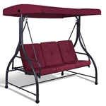 Wine Adjustable 3 Seat Cushioned Porch Patio Canopy Swing Chair