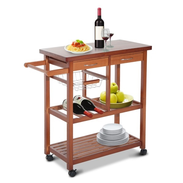 Kitchen Island Cart with Wine Rack and Wooden Cutting Board Top