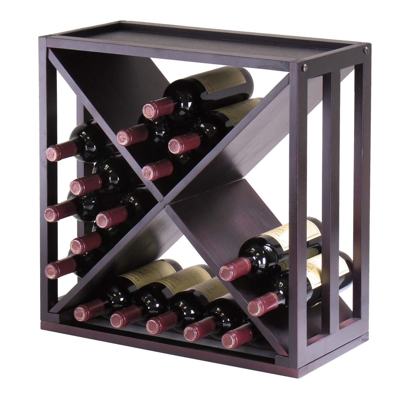 bottle modern wine rack modular and stackable in espresso  - bottle modern wine rack modular and stackable in espresso