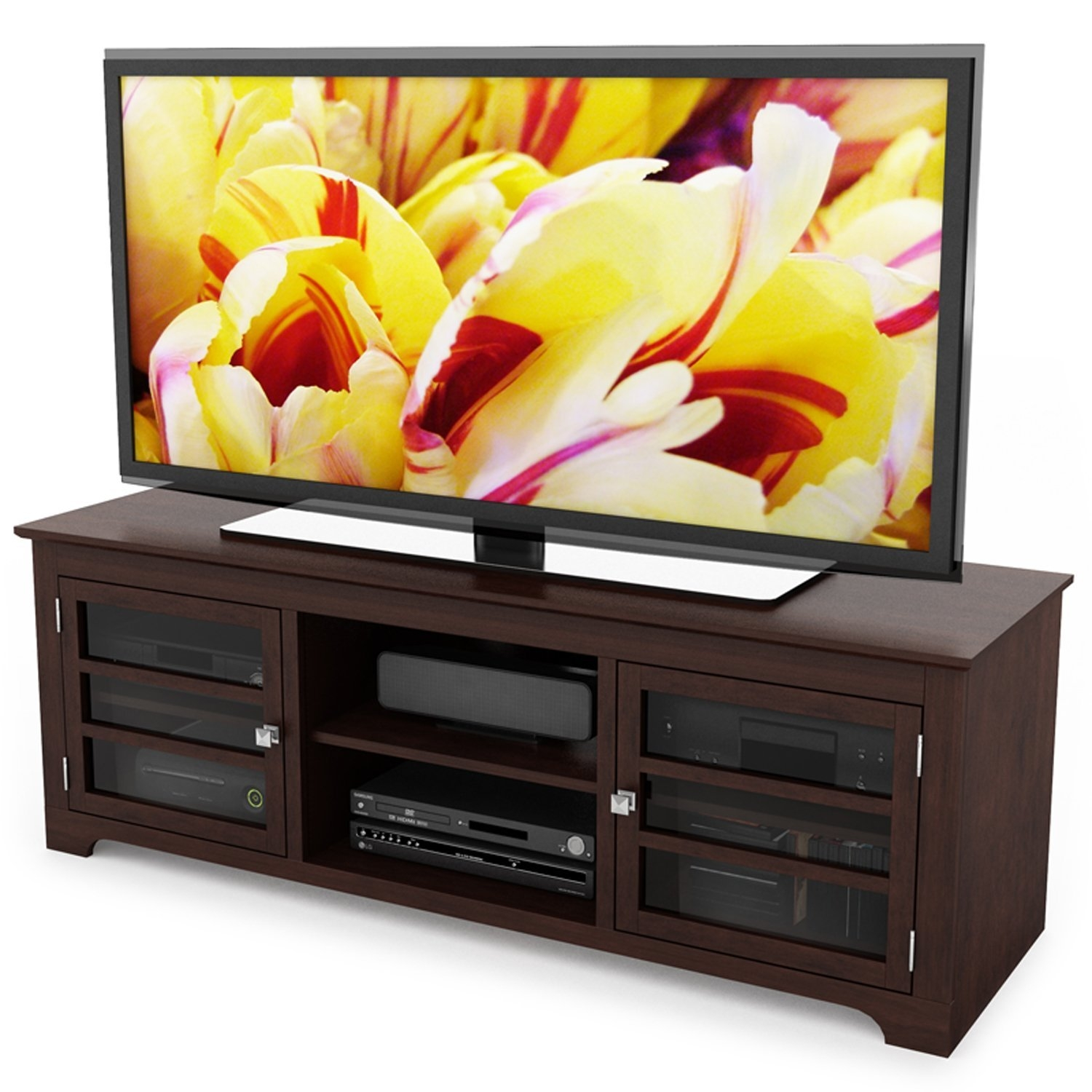Dark Espresso TV Stand With Glass Doors   Fits Up To 68 Inch TV