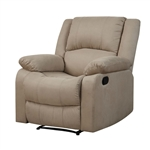Beige Microfiber Upholstered Recliner Chair