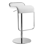 Modern Adjustable Height Bar Stool with White Faux Leather Swivel  Seat