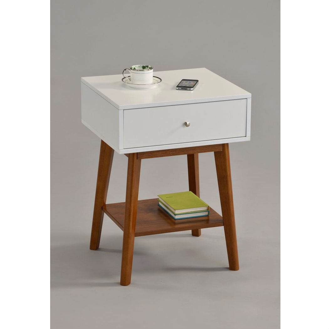 Mid Century Modern Style Nightstand End Table In White U0026 Oak Wood Finish