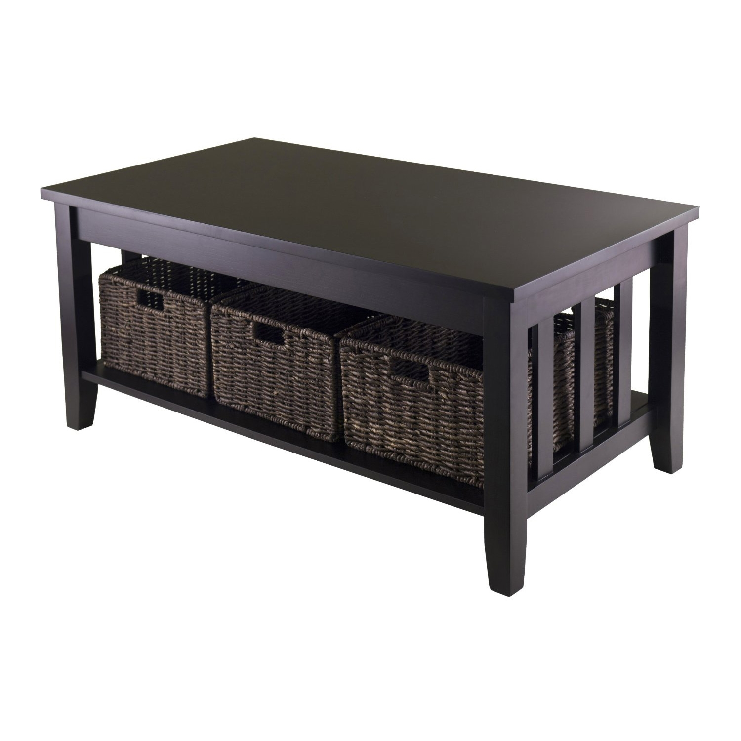 Mission Style Dark Wood Coffee Table with 3-Folding Storage Baskets