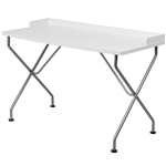 Modern White Top Silver Frame Office Table Computer Desk