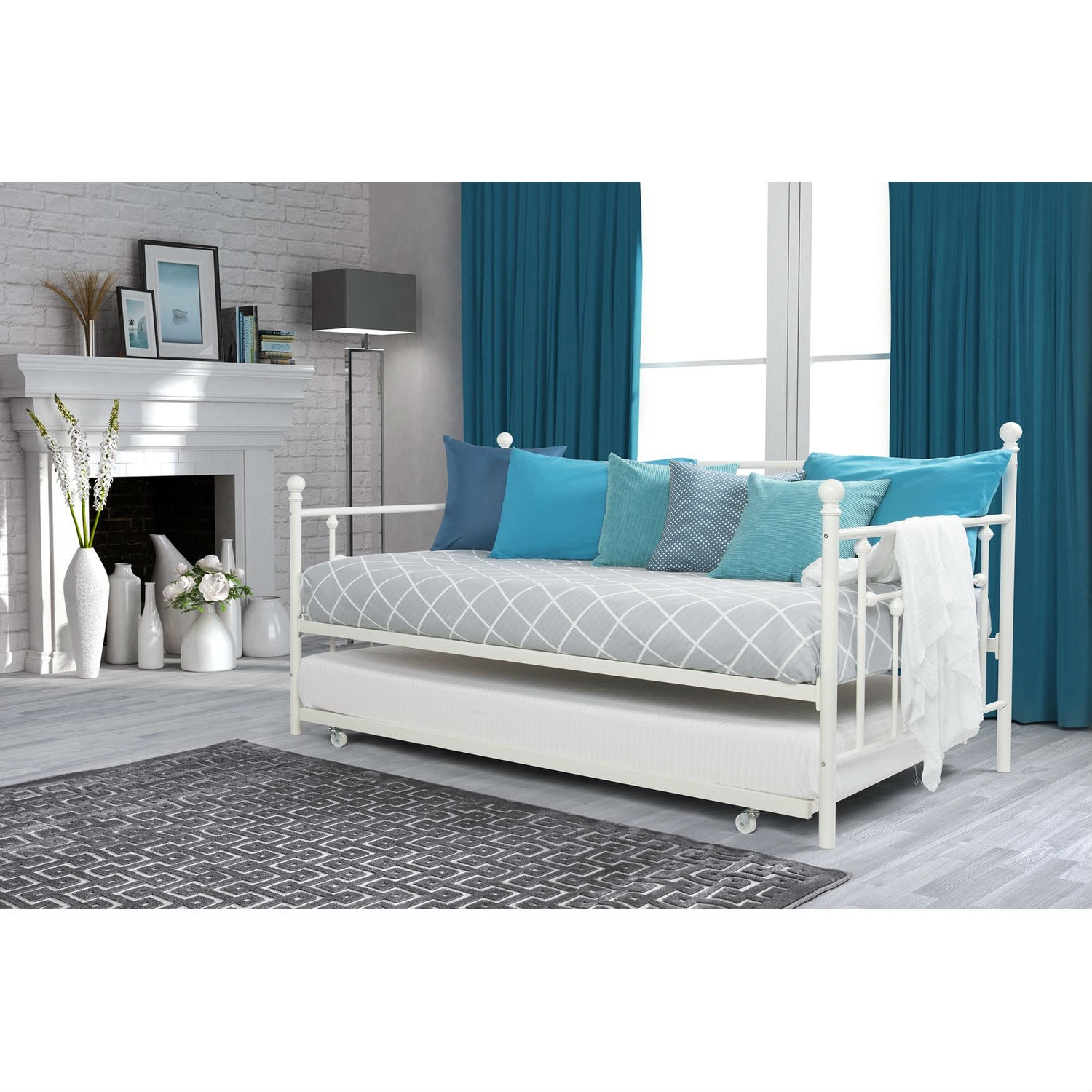 Twin Size White Metal Daybed With Roll Out Trundle Bed