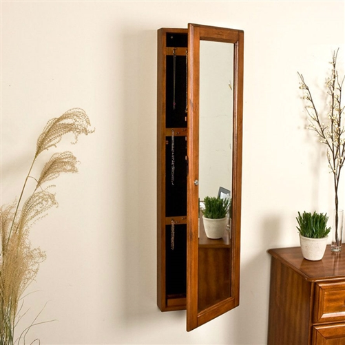 Wall Mount Jewelry Armoire Cabinet And Mirror In Oak Wood