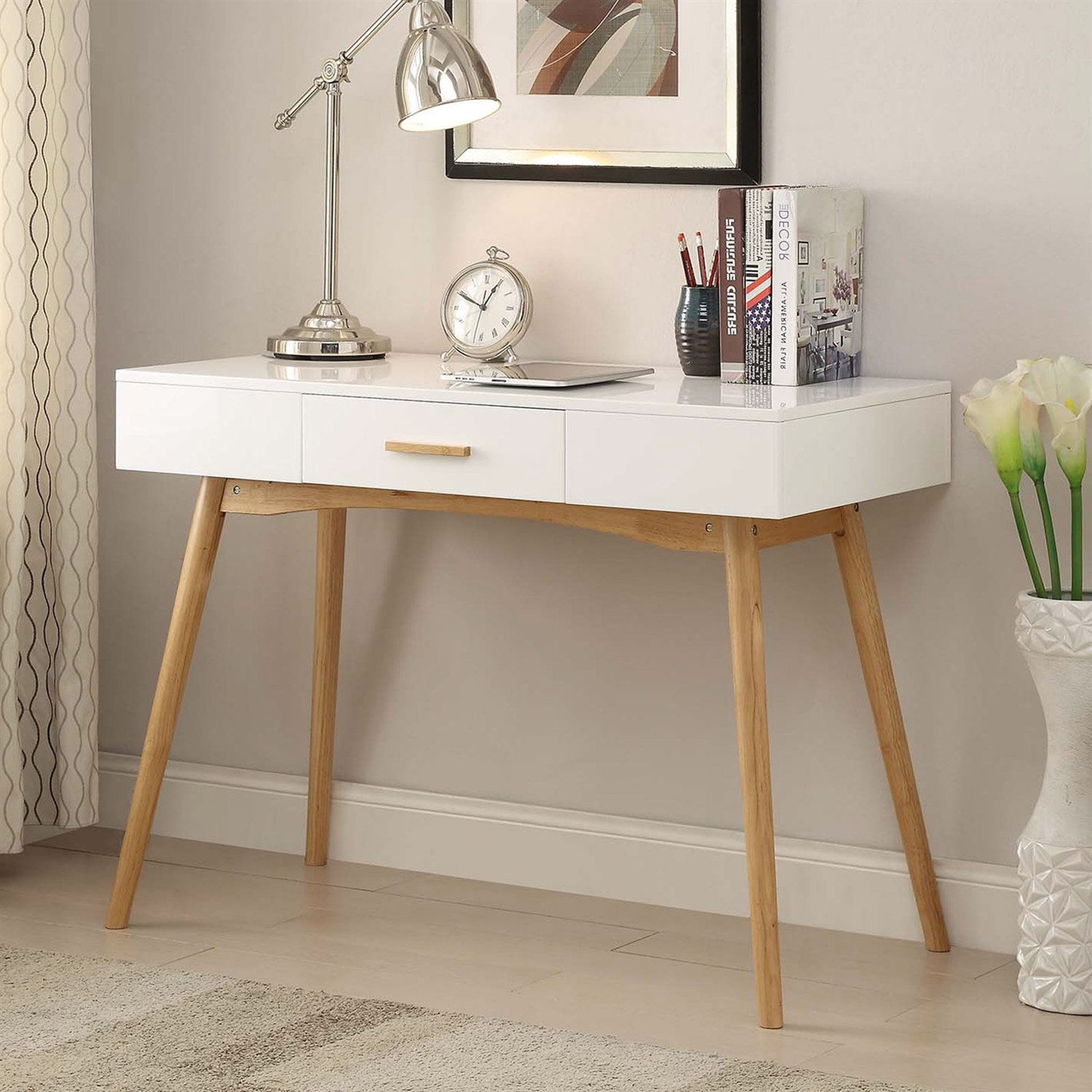 Modern Laptop Writing Desk In White With Natural Mid Century Style Legs Fastfurnishings Com
