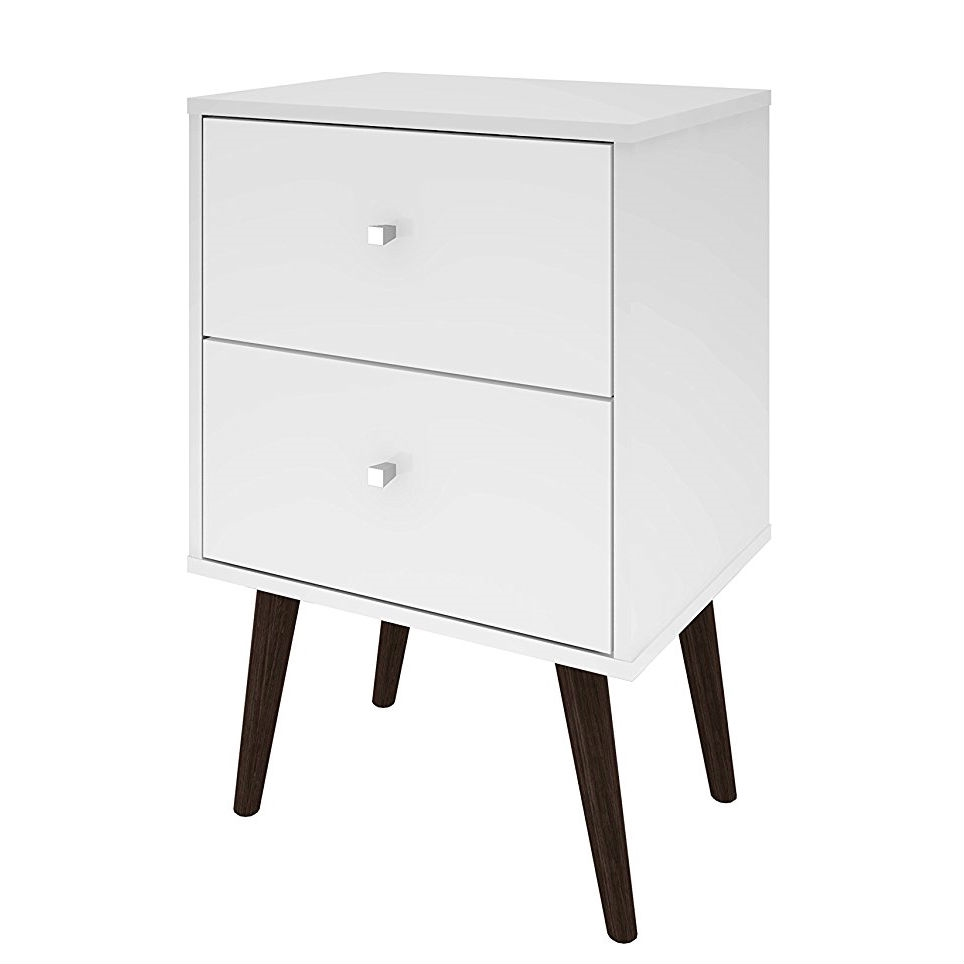 White Modern Mid Century Style 2 Drawer
