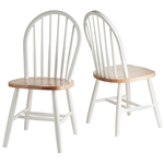 Set of 2 - Classic Wood Dining Chairs in Natural & White