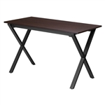 Modern Black Metal Frame Writing Table Computer Desk with Walnut Finish Top