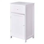 White Wood Bathroom Storage Floor Cabinet with Water Resistant Finish