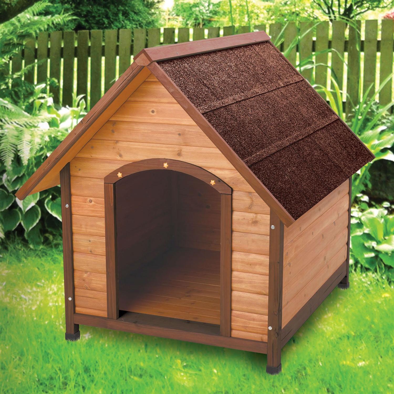 Medium 30-inch Solid Wood Dog House with Waterproof Shingle Roof