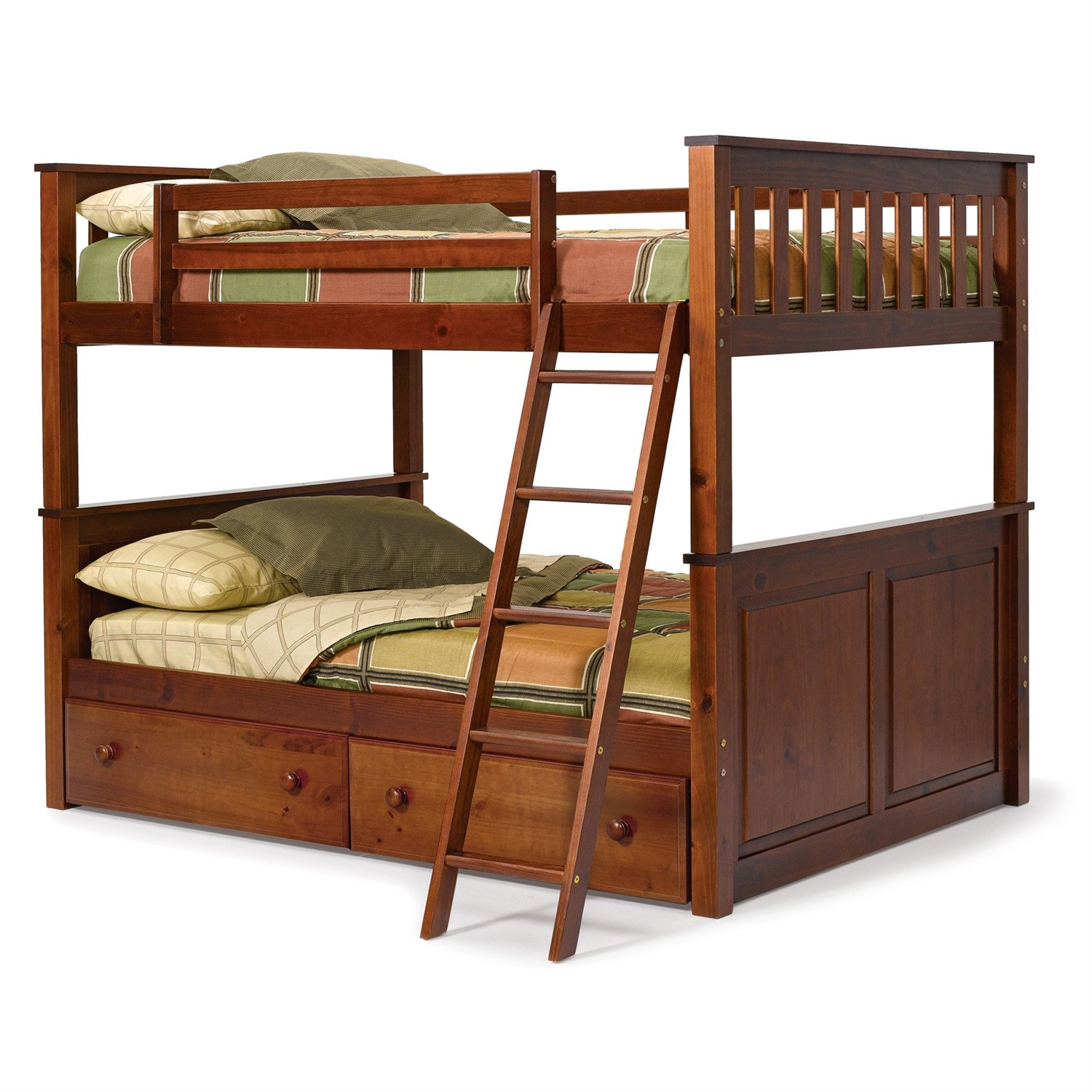 full over full size bunk bed in solid hardwood with chocolate brown finish - Loft Bed Frame Full