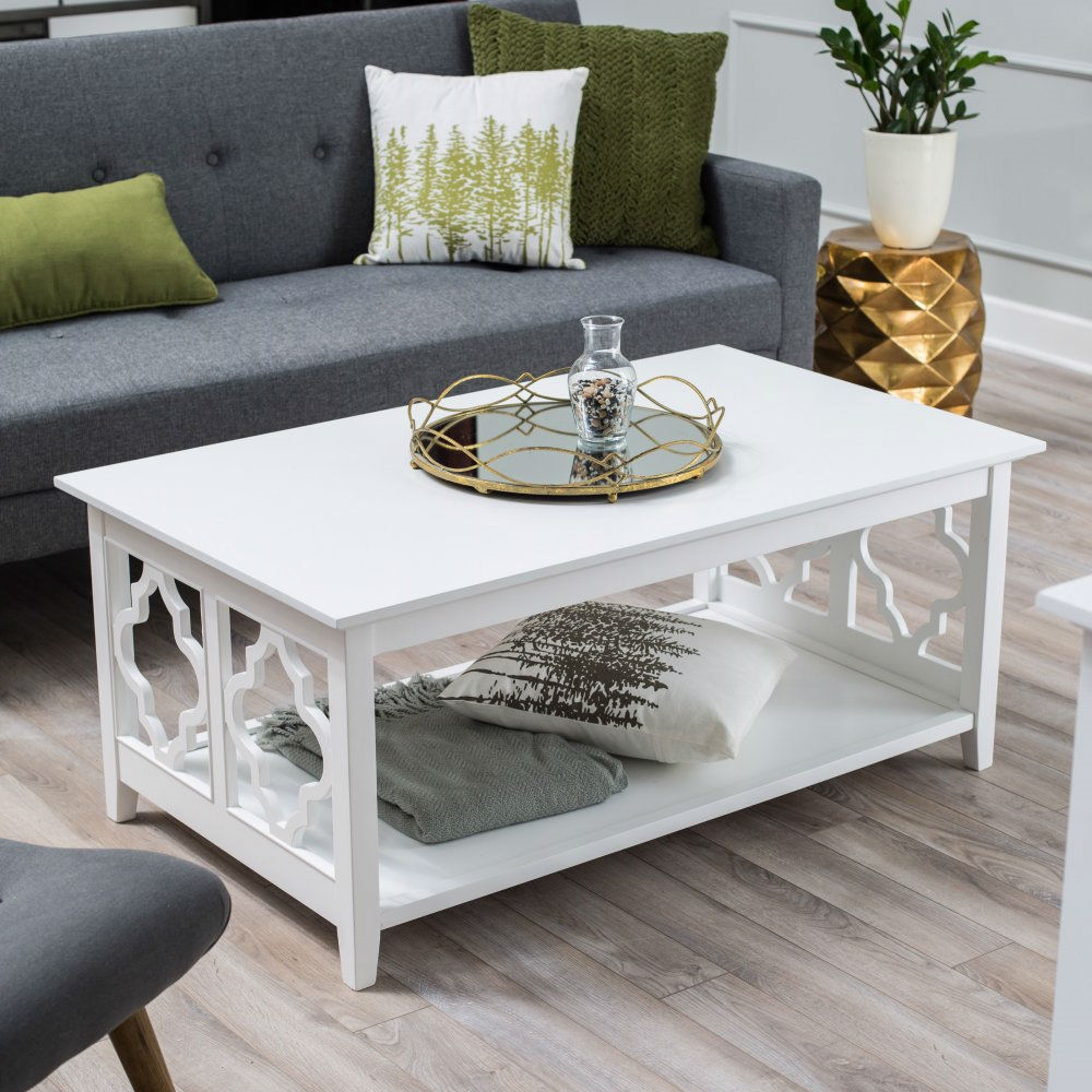 Superbe White Quatrefoil Coffee Table With Solid Birch Wood Frame