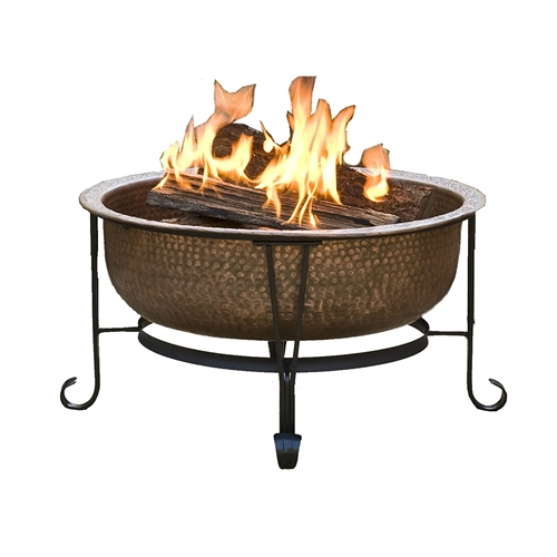 Hammered Copper Fire Pit with Heavy Duty Spark Guard Cover and Stand