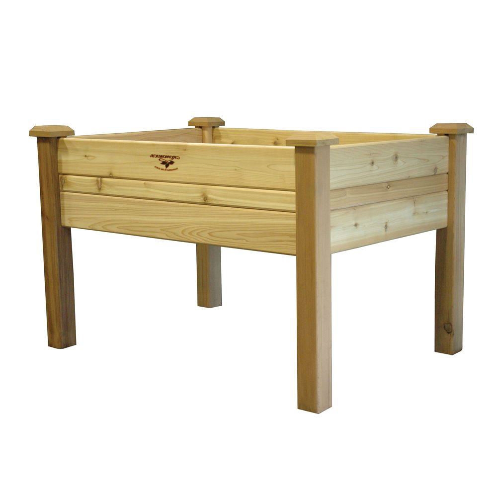 Natural Cedar Raised Garden Beds: Elevated 2Ft X 4-Ft Cedar Wood Raised Garden Bed Planter