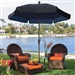 7.5-Ft Patio Umbrella for Outdoor Garden with Tilt Navy Shade and Champagne Pole