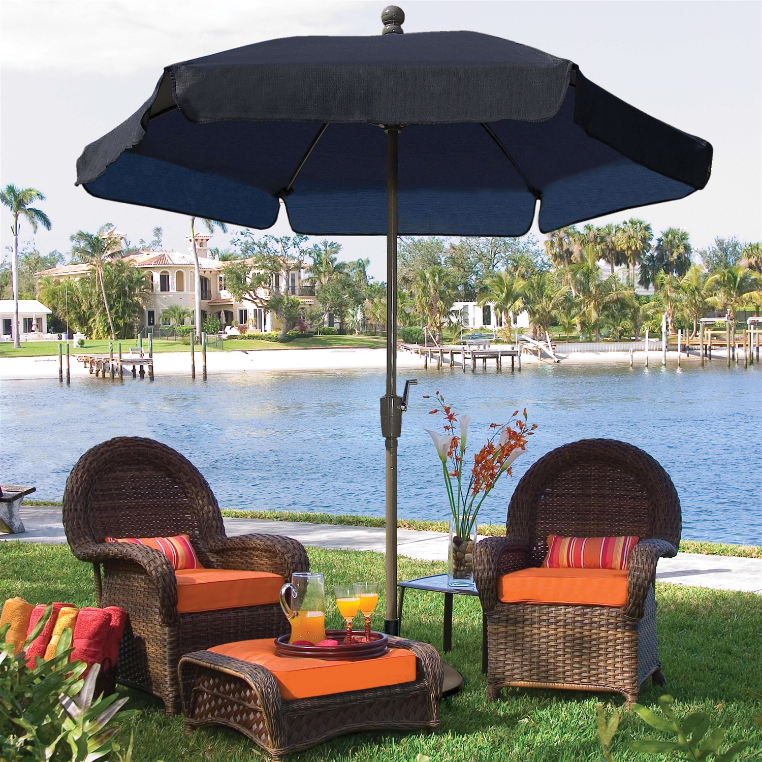 7.5 Ft Patio Umbrella For Outdoor Garden With Tilt Navy Shade And Champagne  Pole