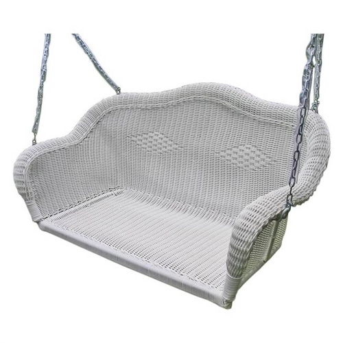 White Resin Wicker Porch Swing with 4-ft Hanging Chain