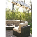 Beige and White Stripe 7.5-Ft Collar Tilt Patio Umbrella with Crank