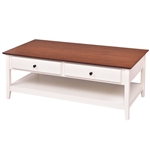 White Wood Coffee Table with 2 Storage Drawers and Bottom Shelf