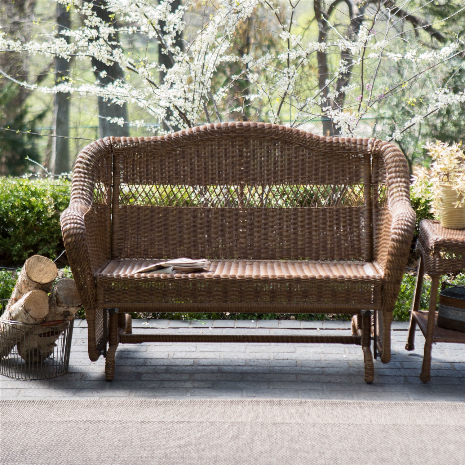 Delightful Walnut Resin Wicker 2 Seat Outdoor Glider Bench Patio Arm Chair