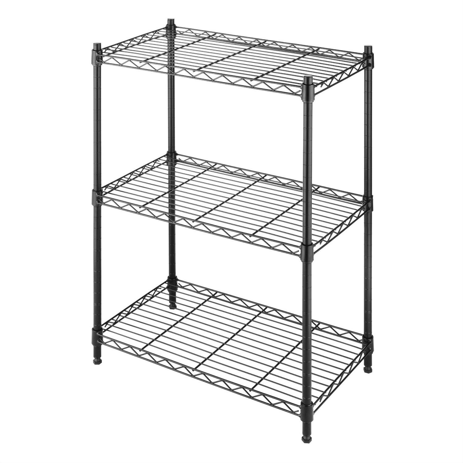 Small 3 Shelf Storage Rack Shelving Unit in Black Metal with Adjustable Leveling Feet