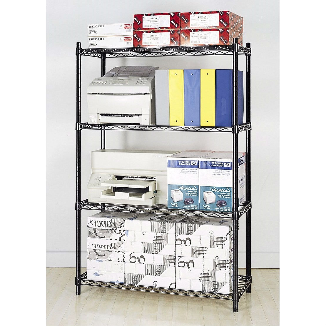 4-Shelf Black Metal Wire Shelving Unit - Each Shelf Holds up to 350 ...